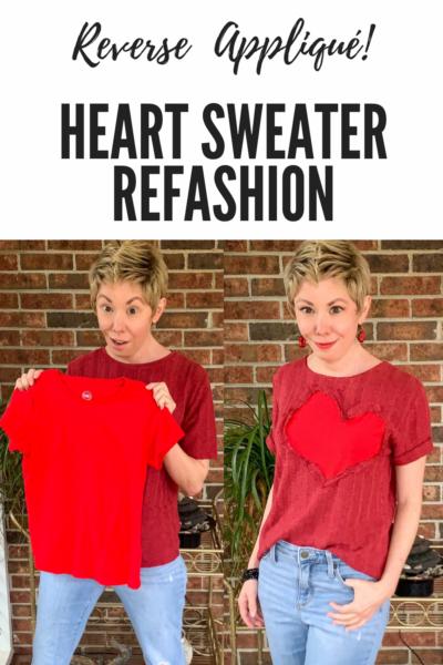 refashionista Valentine's Day Reverse Appliqué Heart Sweater pin 7