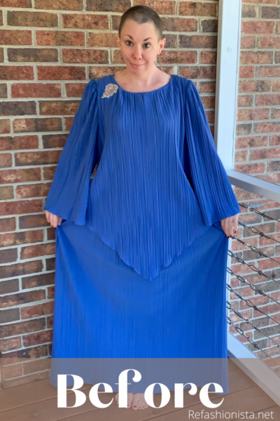 '70s Fortuny Style Mother of the Bride Dress Refashion Pin 4