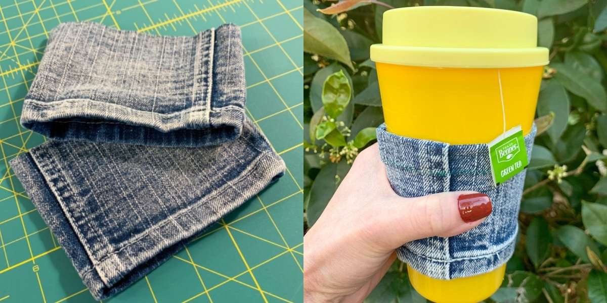 Reusable Coffee Cup Sleeve (from a Cut Off Pant Leg!) featured image
