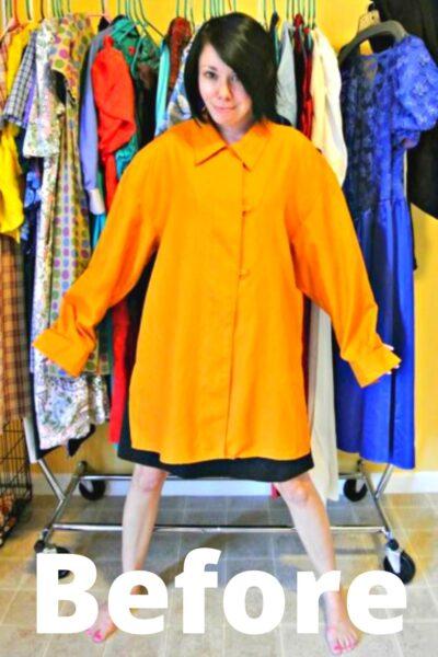 No-Sew Button-Up Shirt to Dress Refashion Pin 1