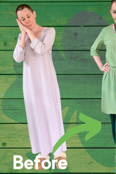 Going for Green: No-Sew Nightgown to Dress Refashion pin 4