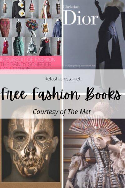 Free Fashion Books, Courtesy of The Metropolitan Museum of Art pin