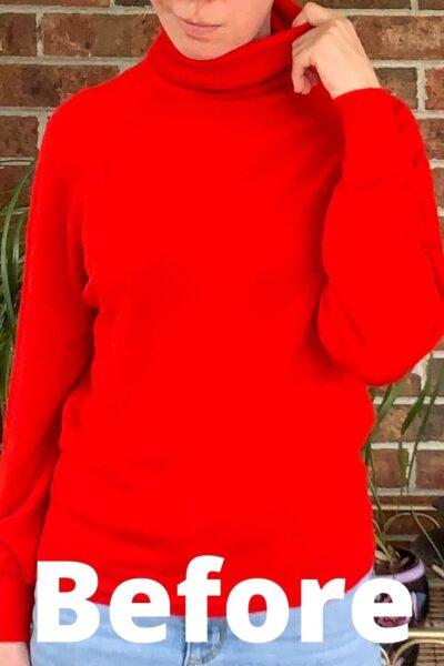 Turtleneck to Crew Neck Sweater Refashion Pin 12