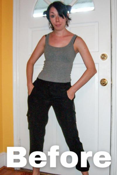 Silk Cargo Pants to Skirt Refashion Pin 1