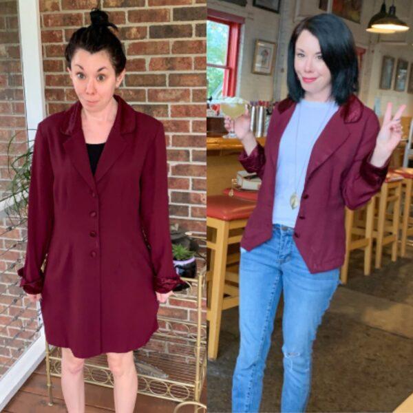 Dress to Blazer Refashion for Boss Babes Pin 5