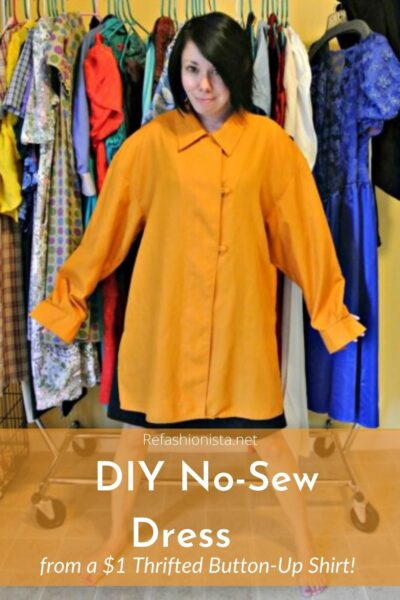 No-Sew Button-Up Shirt to Dress Refashion Pin 4