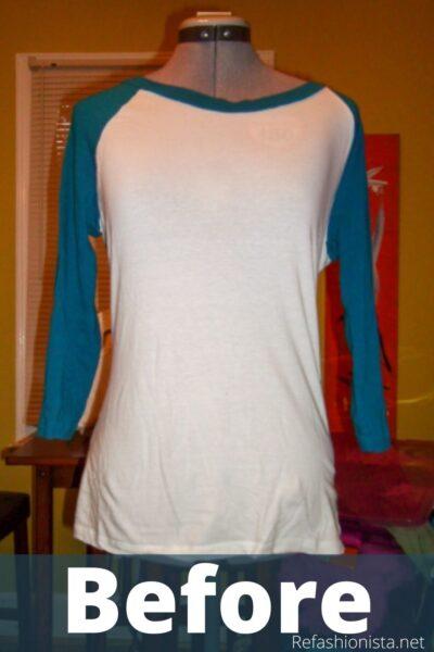 DIY One Shoulder Raglan Baseball Jersey Pin 2