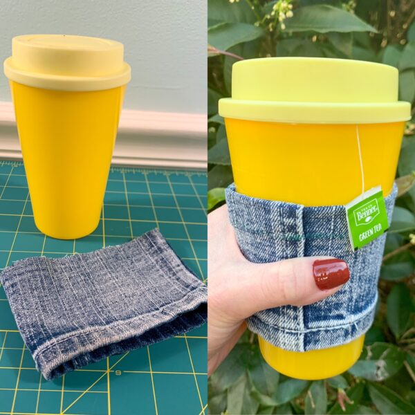 DIY Reusable Coffee Cup Sleeve (from a Cut-Off Jeans Leg!) before and after pin