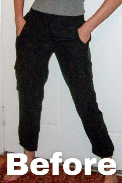 Silk Cargo Pants to Skirt Refashion Pin 2