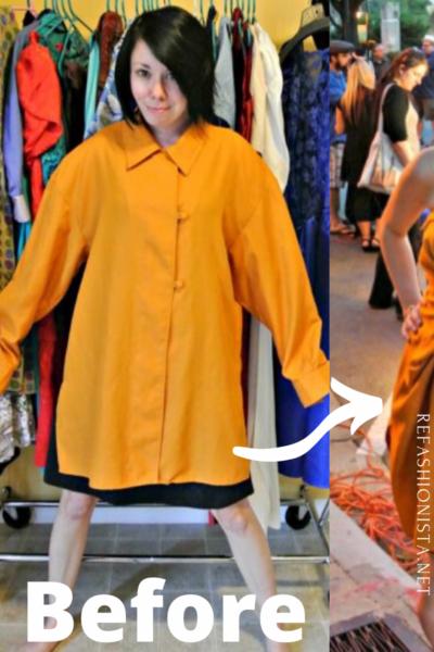 No-Sew Button-Up Shirt to Dress Refashion Pin 5