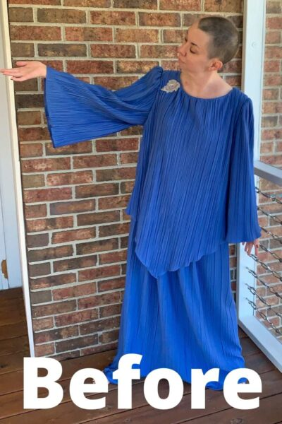 '70s Fortuny Style Mother of the Bride Dress Refashion arm out pin