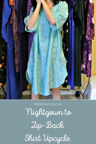 Unzipped: Nightgown to Zip Back Tank Top Refashion Pin 2