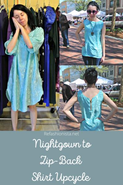Unzipped: Nightgown to Zip Back Tank Top Refashion Pin 4