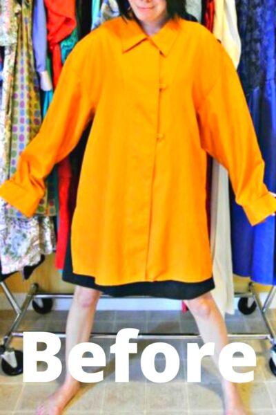 No-Sew Button-Up Shirt to Dress Refashion Pin 3
