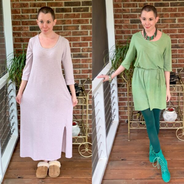 Going for Green: No-Sew Nightgown to Dress Refashion pin 3