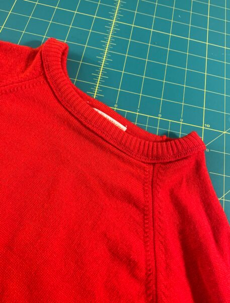 finished neckline of sweater