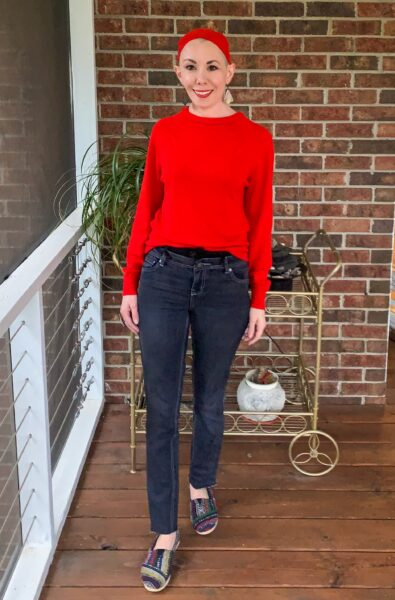 Turtleneck to Crew Neck Sweater Refashion full outfit