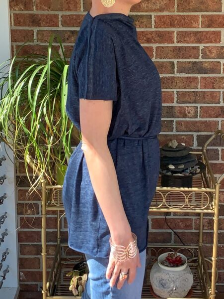 DIY Tunic Top from Sleeveless Jersey Midi Dress after side view