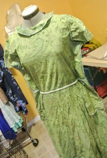 pinned dress on dress form
