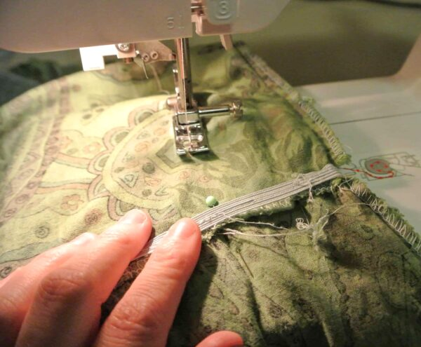 sewing side of dress