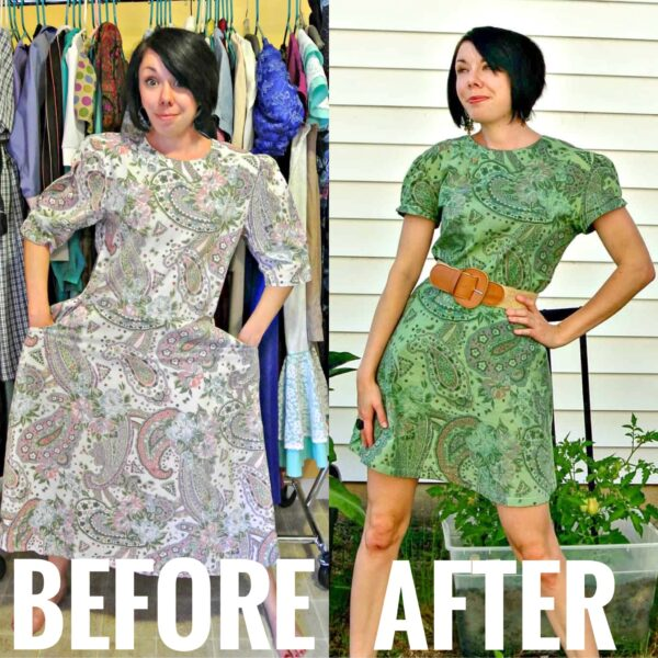 refashionista Basil Dress: Dyeing Over a Printed Fabric before and after