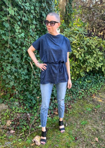 DIY Tunic Top from Sleeveless Jersey Midi Dress after
