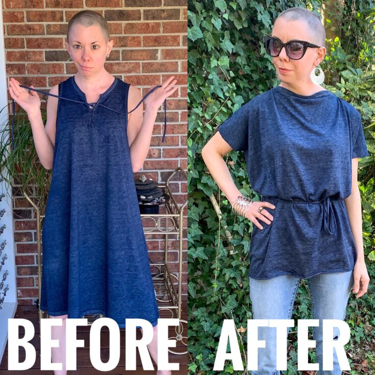 refashionista DIY Tunic Top from Sleeveless Jersey Midi Dress before and after