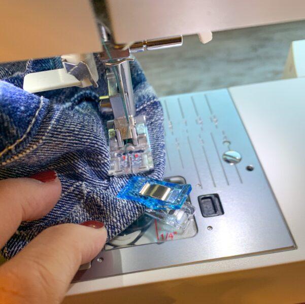 stitching raw edge down with a zigzag stitch