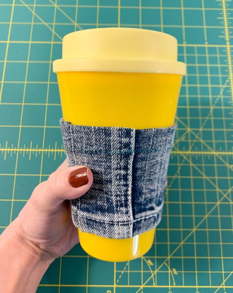 diy reusable coffee cup sleeve turned right side out on cup