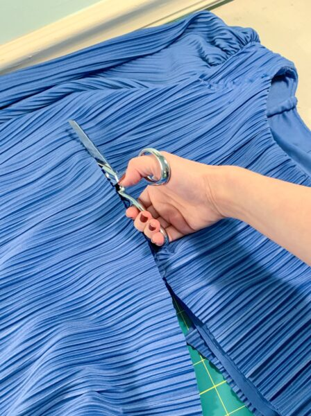 cutting off top of dress
