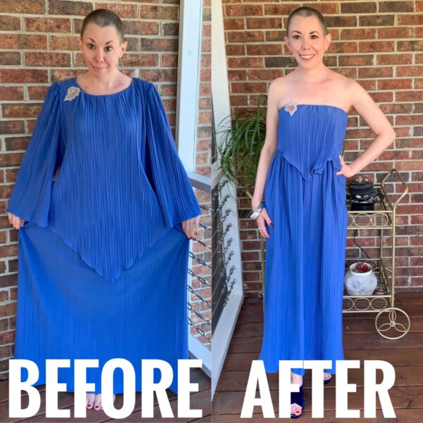 refashionista '70s Fortuny Style Mother of the Bride Dress Refashion before and after