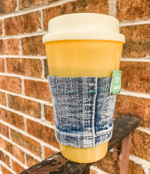 diy reusable coffee cup sleeve on rail