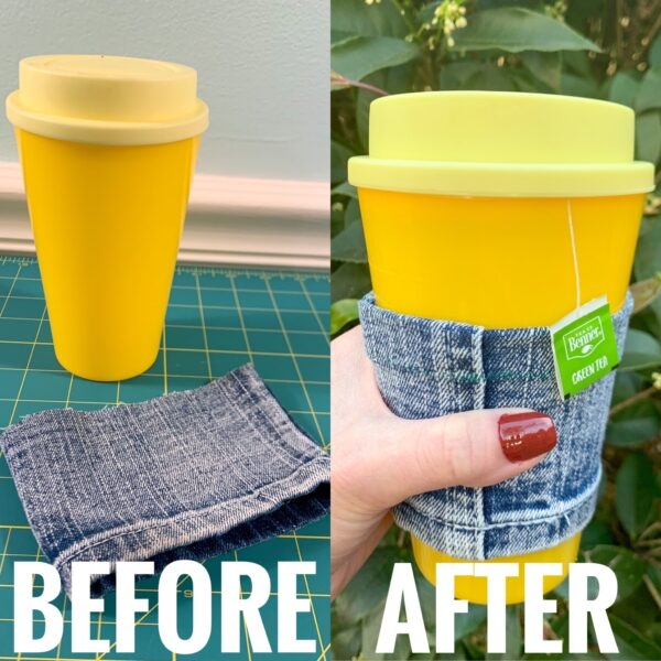 DIY Reusable Coffee Cup Sleeve (from a Cut-Off Jeans Leg!) before and after
