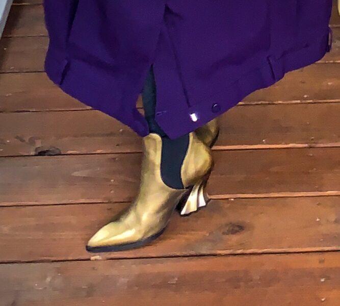 closeup of gold fluevog boots