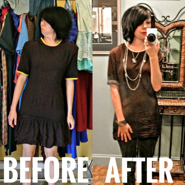 austin dress to top refashion before and after