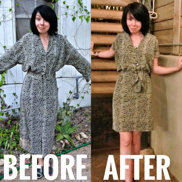 Thrifting in Austin, TX (and a Dress Refashion!) before and after