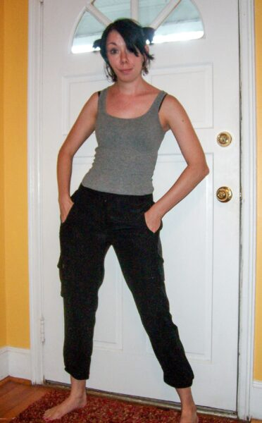 silk cargo pants to skirt refashion before