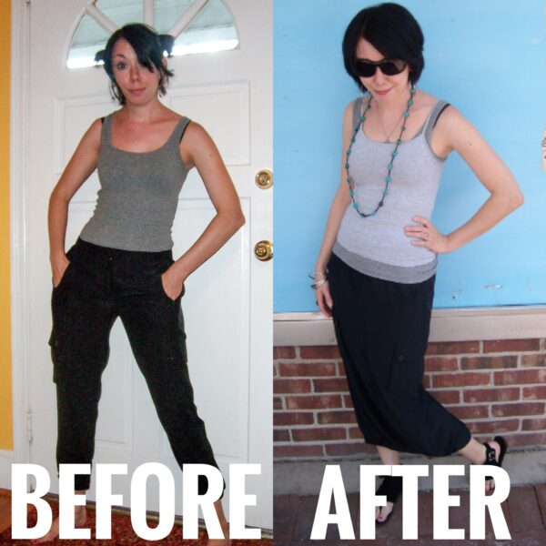 refashionista Silk Cargo Pants to Skirt Refashion before and after