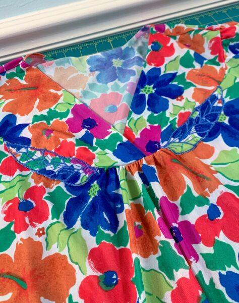closeup of embroidery on muumuu