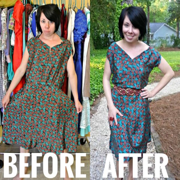 refashionista Fixing a (Poorly) Handmade Dress featured image before and after