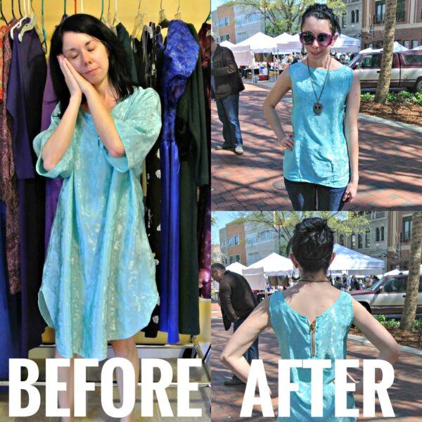 Unzipped: Nightgown to Zip Back Tank Top Refashion before and after