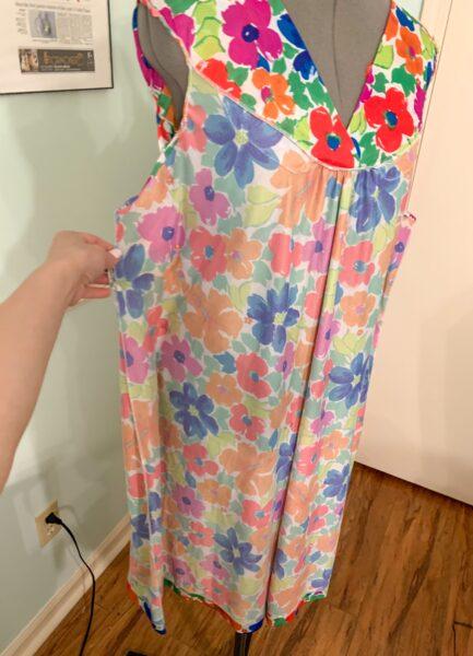 muumuu pinned on dress form