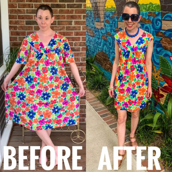 refashionista How to Make a Muumuu into a Dress before and after