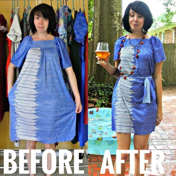 refashionista no sew muumuu to dress refashion before and after