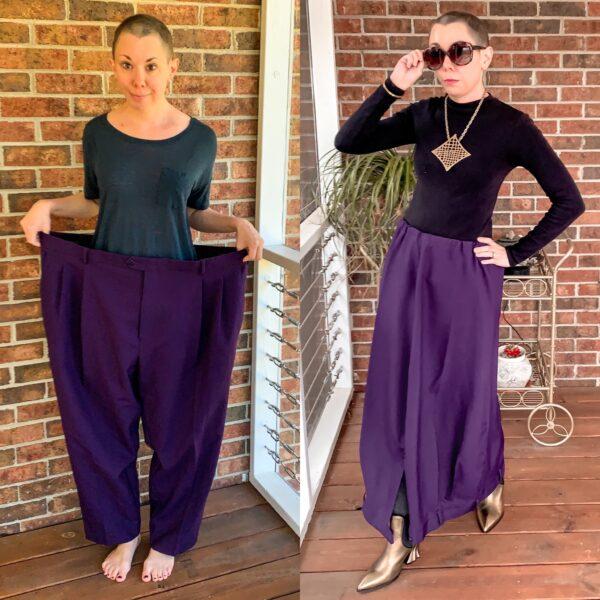 Men's Pants to Avant-Garde Skirt Refashion Pin 6