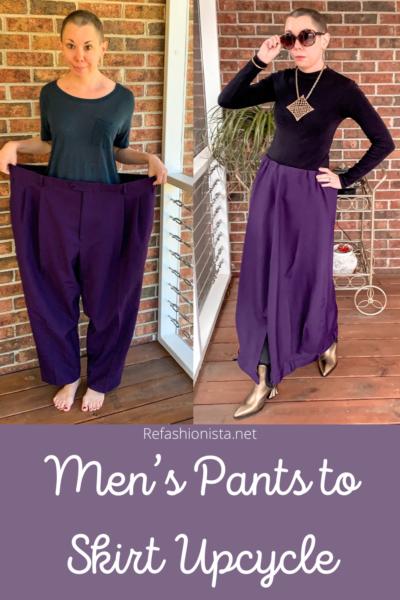 Men's Pants to Avant-Garde Skirt Refashion pin 7