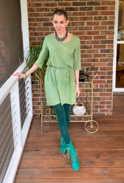 refashionista Going for Green: No-Sew Nightgown to Dress Refashion after