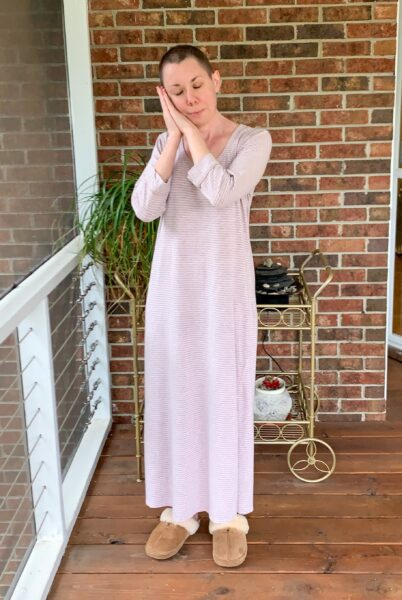 refashionista Going for Green: No-Sew Nightgown to Dress Refashion before