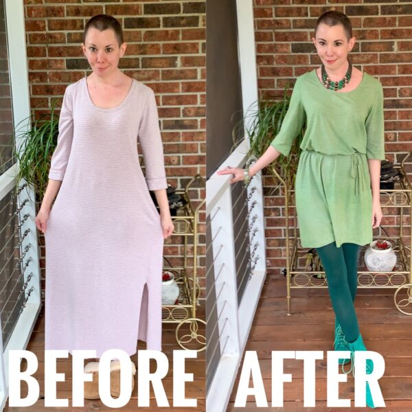 refashionista Going for Green: No-Sew Nightgown to Dress Refashion before and after