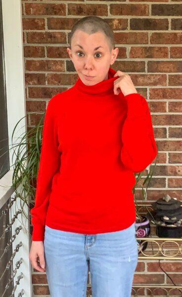 refashionista Turtleneck to Crew Neck Sweater Refashion before